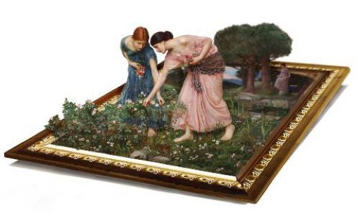 3d art waterhouse gather flower girls painting