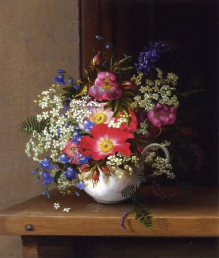 adelheid dietrich still life with dog roses_ larkspur and bell flowers in a white cup painting