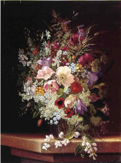 adelheid dietrich still life with flowers oil painting