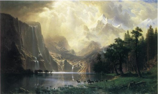 albert bierstadt among the siera navada mountains california oil painting