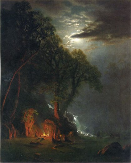 albert bierstadt campfire site yosemite paintings