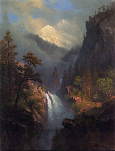 albert bierstadt cascading falls at sunset painting