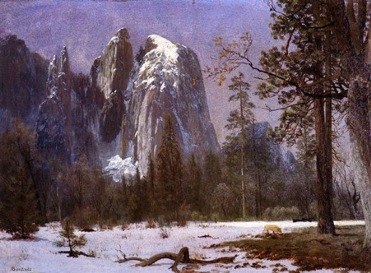 albert bierstadt cathedral rocks yosemite valley winter prints