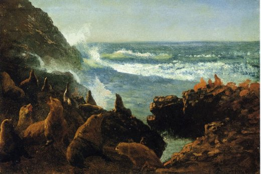 albert bierstadt sea lions farallon islands painting