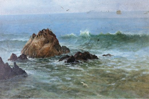 albert bierstadt seal rocks off pacific coast california paintings