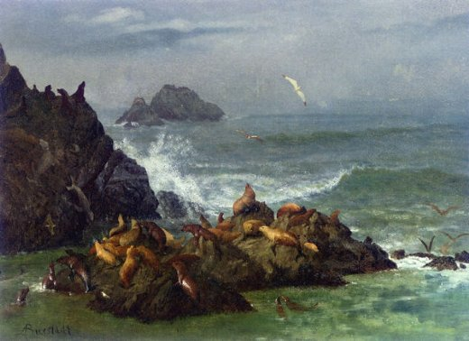 albert bierstadt seal rocks pacific ocean california paintings