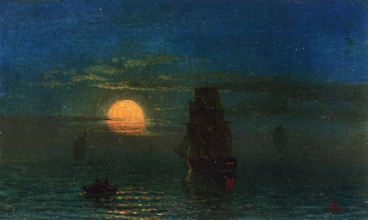albert bierstadt ships in moonlight paintings
