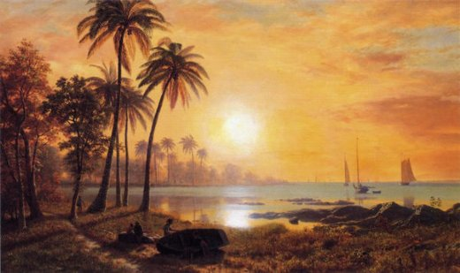 albert bierstadt tropical landscape with fishing boats in bay paintings