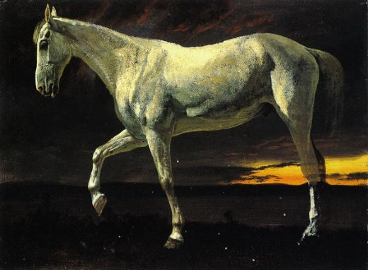albert bierstadt white horse and sunset painting