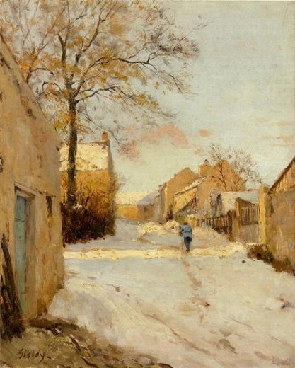 alfred sisley a village street in winter painting