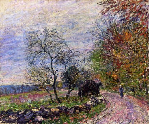 alfred sisleyalong the woods in autumn Painting-37265