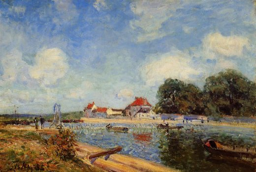 alfred sisley loing dam at saint painting