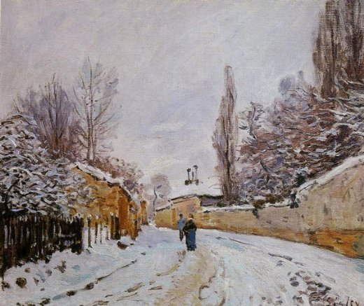 alfred sisley road under snow louveciennes painting