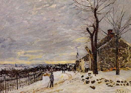 alfred sisley snowy weather at veneux painting