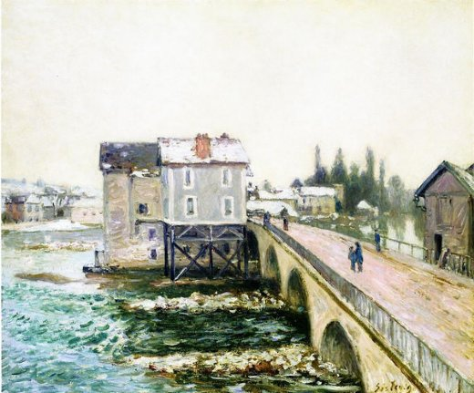 alfred sisley the bridge and mills of moret winter s effect painting