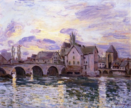 alfred sisley the bridge at moret at sunset painting