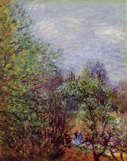 alfred sisley two women walking along the riverbank paintings