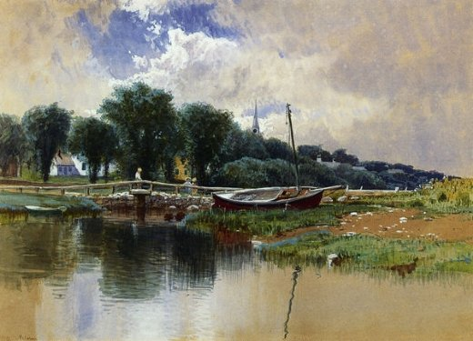 alfred thompson bricher landscape with children on a bridge paintings