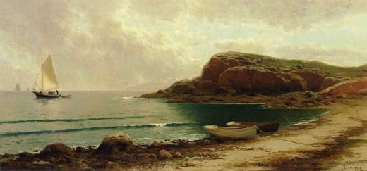 alfred thompson bricher seascape with dories and sailboats oil painting