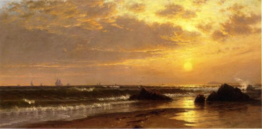 alfred thompson bricher seascape with sunset paintings