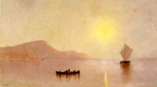 alfred thompson bricher sunset over the palisades on the hudson painting