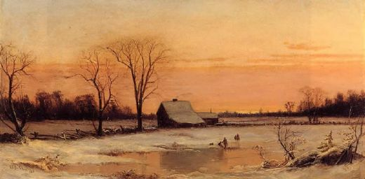 alfred thompson bricher winter landscape oil painting