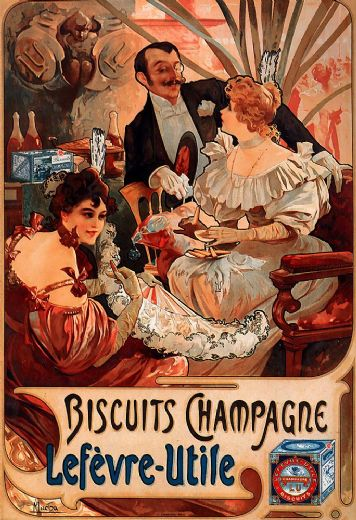 alphonse maria mucha biscuits champagne lefevre utile painting