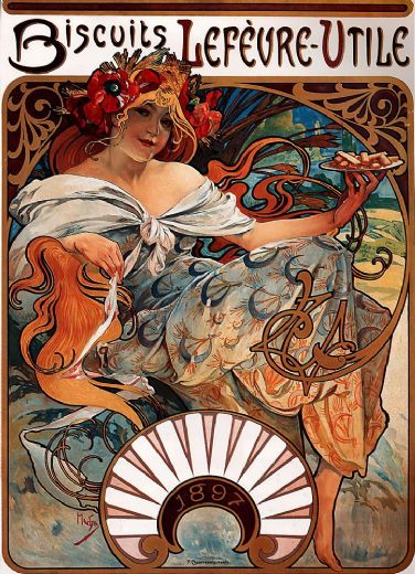alphonse maria mucha biscuits lefevre utile paintings