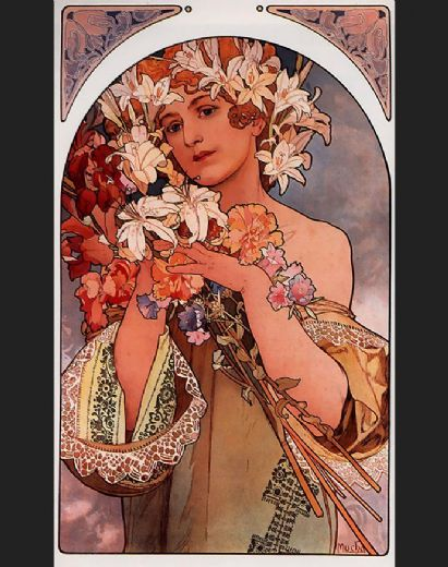 alphonse maria mucha flower paintings