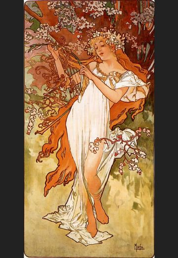 alphonse maria mucha spring paintings