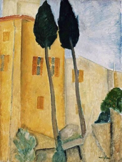amedeo modigliani cypress trees and houses midday landscape paintings
