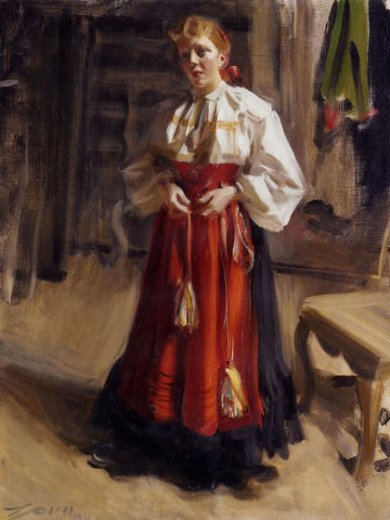 Shopping Anders Zorn Girl In An Orsa Costume Painting