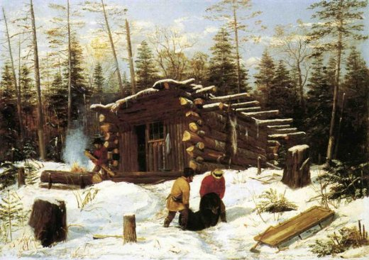 arthur fitzwilliam tait bringing home game winter shanty at ragged lake paintings