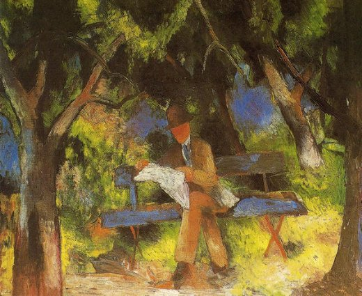 august macke man reading in a park painting