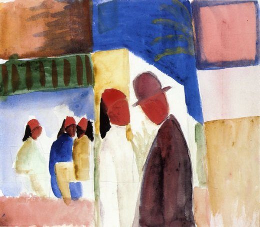 august macke on the street painting
