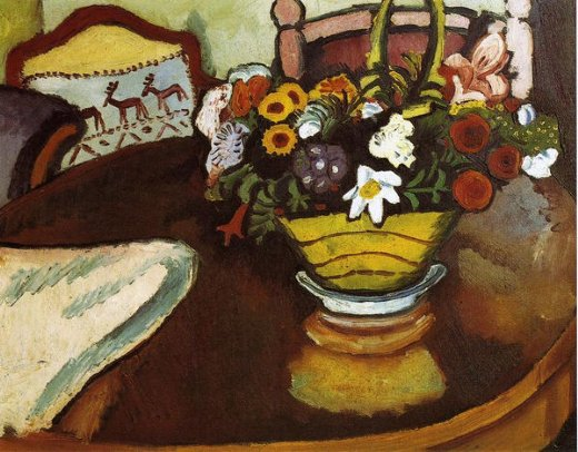 august macke still life with stag cushion and flowers paintings