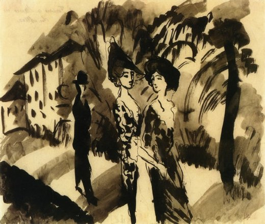 august macke two women and an man on an avenue paintings