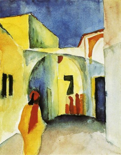 august macke view of an alley painting