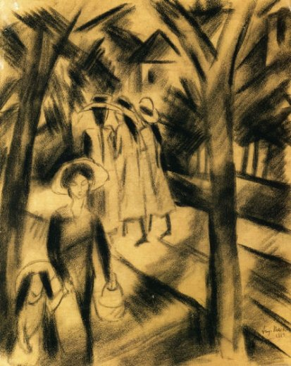 august macke woman with child and girls on a road painting