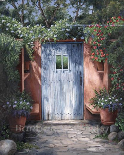 barbara felisky garden gate on mission carmel painting