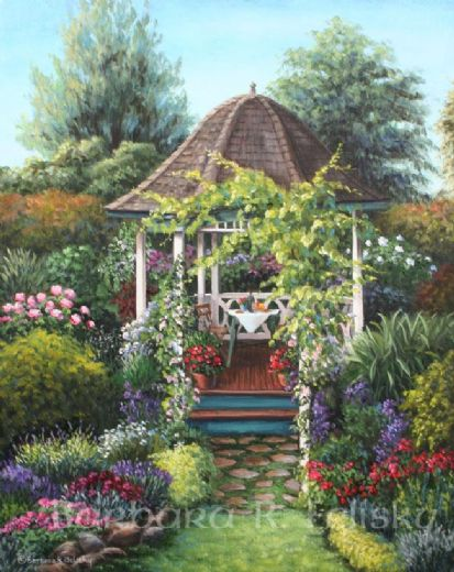 barbara felisky gazebo among the roses painting