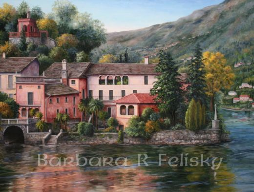 barbara felisky lake orta italy oil painting