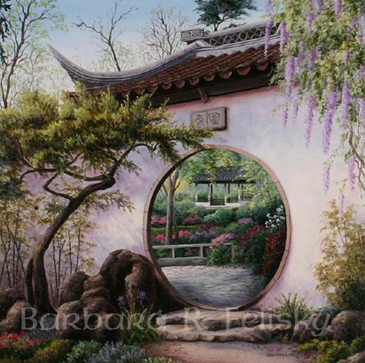 barbara felisky moon gate garden painting