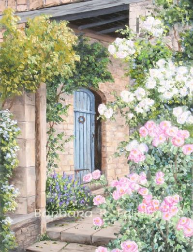 barbara felisky roses by the dooryard painting