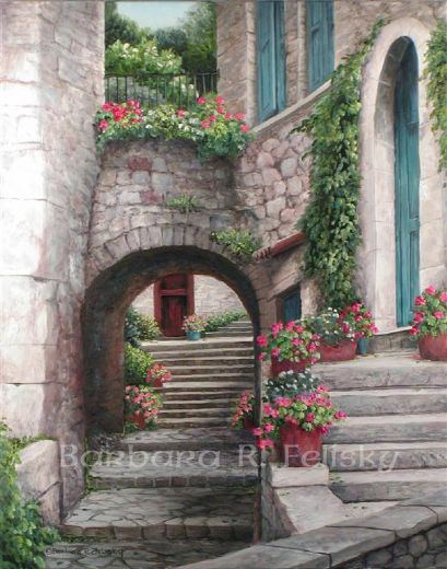 barbara felisky view through the arch painting