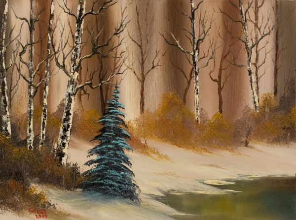 bob ross a copper winter 85964 painting