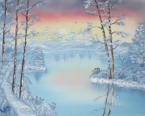 bob ross at dawns light 85974 painting
