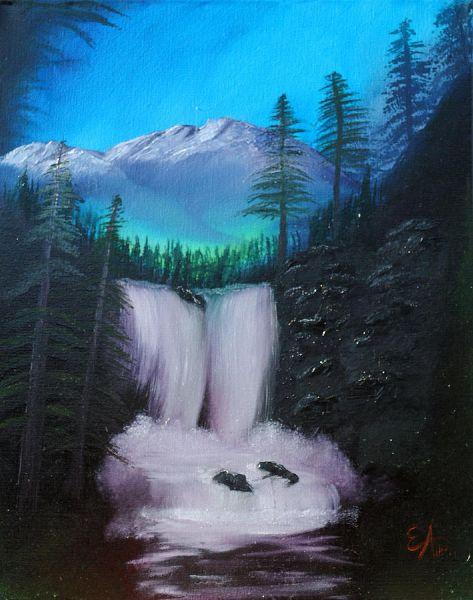 bob ross black rock falls 85934 painting