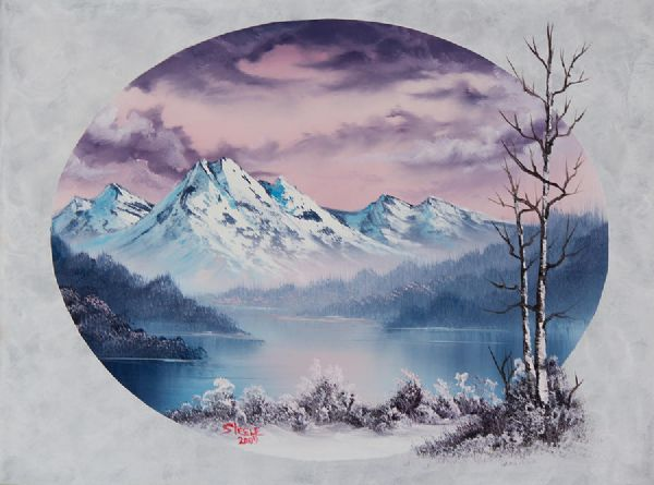 bob ross crimson frost oval posters