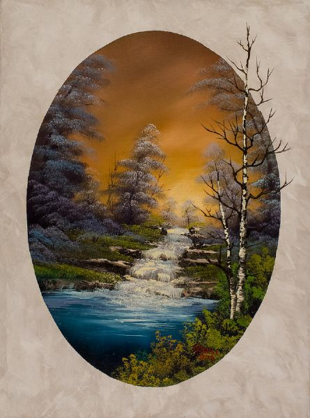 bob ross crimson oval paintings